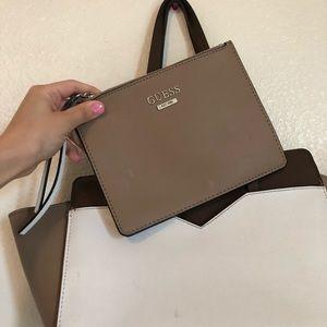 STUNNING brown, white, taupe GUESS handbag